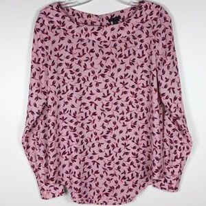 Ann Taylor pink leaf print career blouse